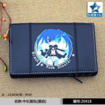 Anime Black Rock Shooter Multilayer PU Black Wallet/Purse Printed with Kuroi Mato For Youth, Students & Anime Fans