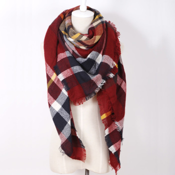 Winter luxury Brand Plaid Cashmere Scarf Women Oversized Blanket Scarf Wrap long Wool Scarf Women Pashmina Shawls Scarves