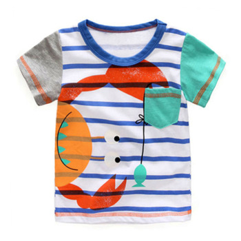 Littlemandy Crab Baby Boys Tees 2018 Brand Hot Summer Clothes Cartoon Kids T-shirts Clothing Children Short Sleeve Print