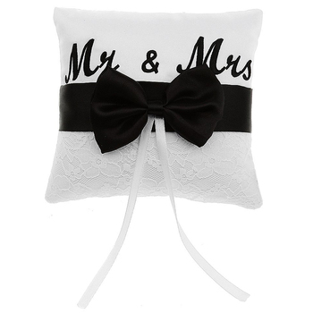 Mr & Mrs Saten Kurdele Bow Alyans Yastık 15 cm