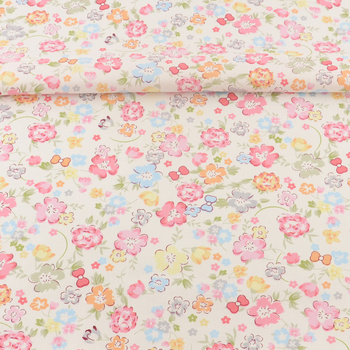 Cotton Fabric Pink Printed Floral Designs Home Textile Patchwork Tecido Scrapbooking Twill Sewing Tela Quilting Bedding