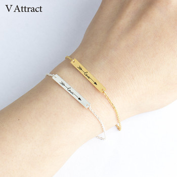 V Attract 2017 Stainless Steel Geometric Long Bar Bracelets Couples Jewelry Silver Chain & link Love Arrow Statement Bracelet